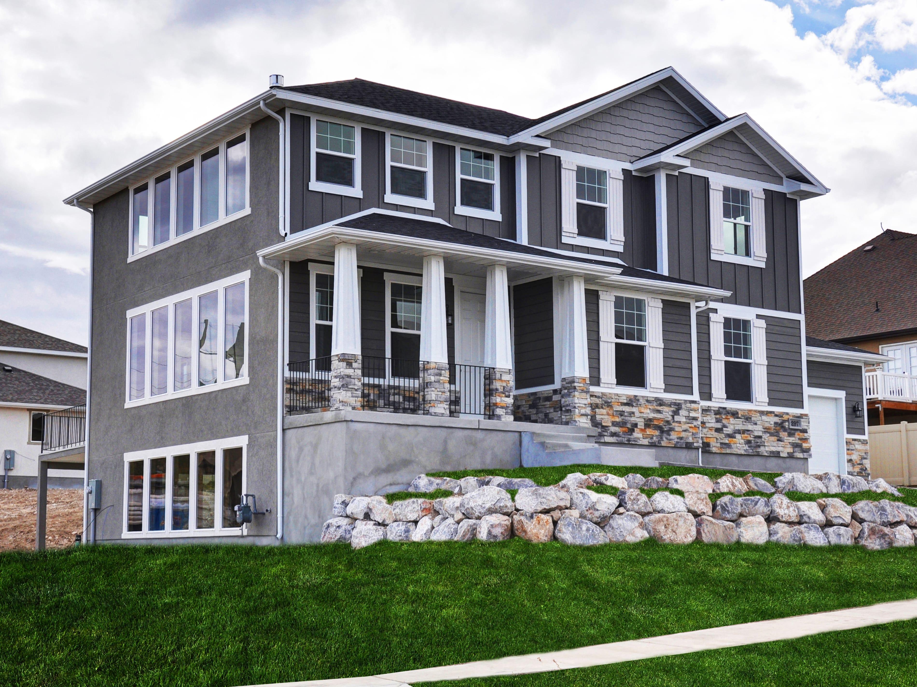 Custom Home Front Elevation : Front elevation lightyear homes utah custom home builder