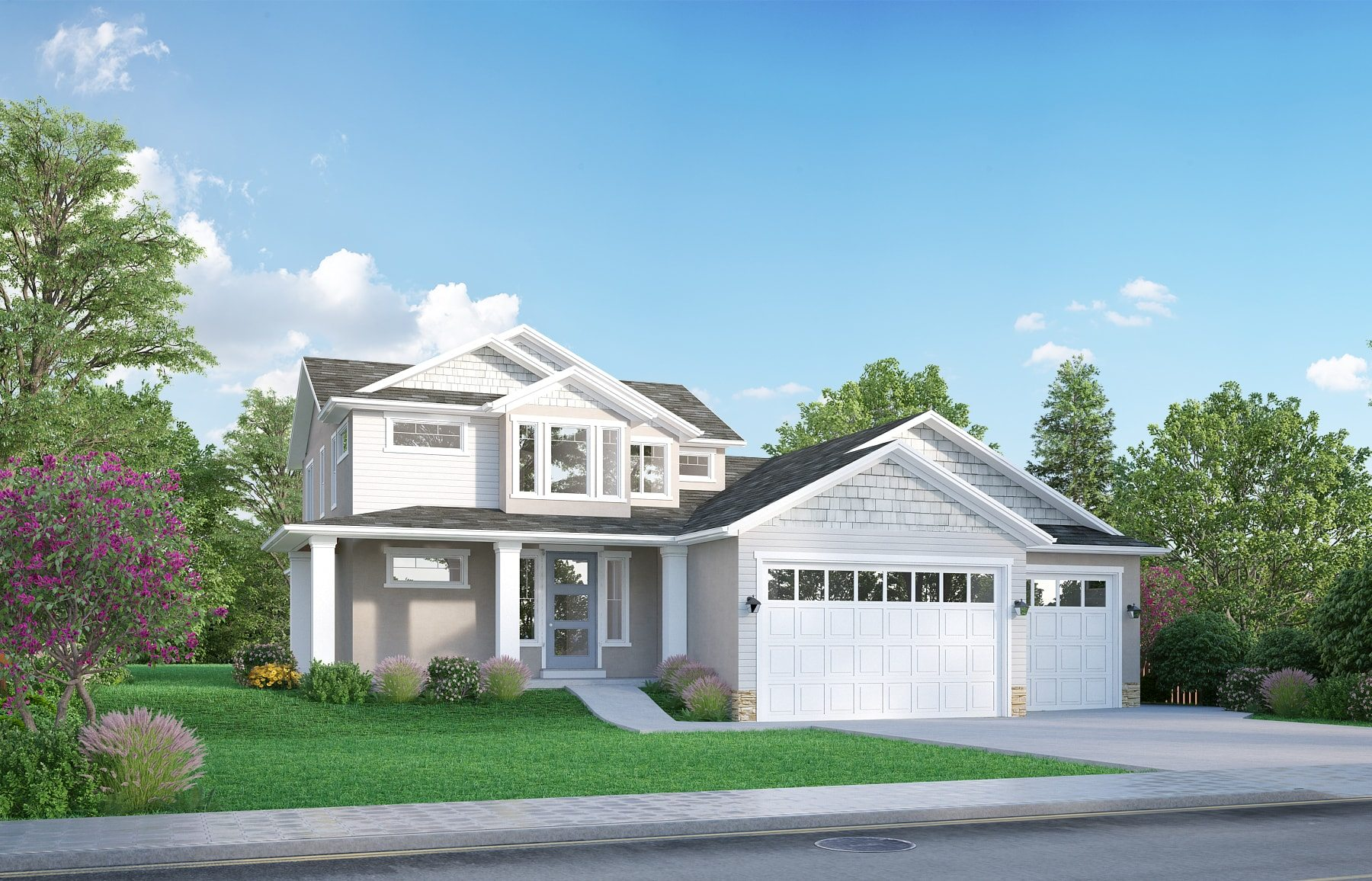 Artistic rendering of cami home plan by lightyear homes for Modern homes utah for sale